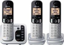 New Panasonic Digital Cordless KX-TG433SK 3 Phone Set Silver