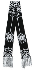 Sourpuss Spider & Web Knitted Winter Scarf Black Goth Punk Rockabilly Pin Up