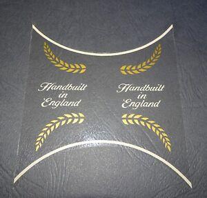 1 AUTHENTIC NOS RALEIGH HANDBUILT IN ENGLAND GOLD/WHITE BIKE FRAME STICKER DECAL