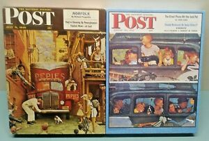 Lot of 2 - Norman Rockwell Saturday Evening Post Vintage Jigsaw Puzzles Complete