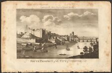 1779 ca ANTIQUE PRINT- CHESHIRE - SOUTH PROSPECT OF CITY OF CHESTER