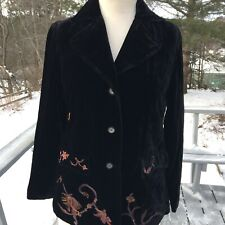 JJill Velvet Jacket Black With Colorful Embrodery Size Xsmall Petite