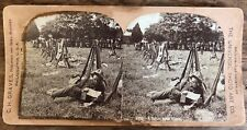 """Antique Stereoview Universal Photo """"A Letter From Home"""" Military Solider Camp"""