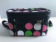 Polka Dot Softside Luggage Cosmetic/Toiletries Zip Arround Train Case w/Mirror