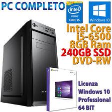 PC COMPUTER FISSO ASSEMBLATO DESKTOP CORE i5-6500 RAM 8GB SSD 240GB WINDOWS 10