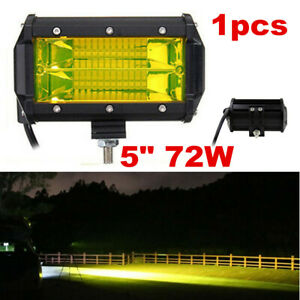 "1pc 5"" CREE LED Work RV Light Bar Flood Beam Off-Road Driving Fog Lights Yellow"