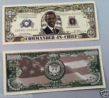 Commander-In-Chief DOLLARS Barack H. Obama FAKE DOLLAR BILLS Lot of 10-