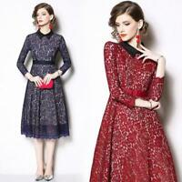 2019 Spring Women's Fashion Lace Flower Tunic Doll Collar Long Sleeve Chic Dress