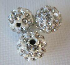 White Polymer Clay Crystal Shamballa Beads Zardenia 3pcs Shambala Beads