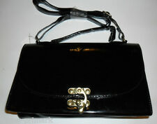 PRIMARK BLACK LADIES PATENT CLUTCH BAG WITH CARRY HANDLE & SHOULDER STRAP NEW