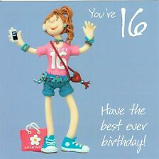 16th Birthday Card, SWEET 16 Girl age 16 From the One Lump or Two Collection