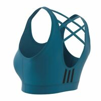 New Adidas Womens Athletic Climalite Teal Dont Rest Branded Unpadded Sport Bra L