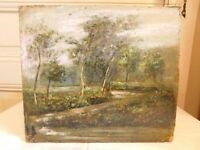 """Oil On Panel Anonymous """" Under Wood And Path """" French School Style Barbizon"""