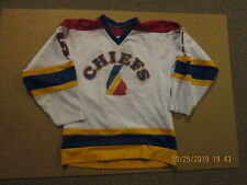 Peoria Chiefs Youth Hockey #5 Size M Athletic Sewing Game Used Hockey Jersey