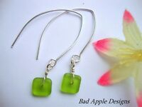 GREEN Square SEA GLASS Silver Marquise Dangle Earrings USA HANDMADE