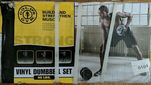 Gold's Gym Vinyl Dumbbell Set 40 lb Adjustable Weight Set Ships Fast