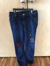 Ralph Lauren Girls studded patched RARE decorated denim blue jeans NWOT