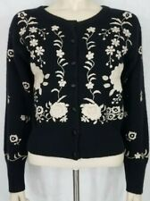 Express Tricot black white floral embroidered lambswool blend cardigan Medium