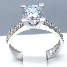 "STUNNING 9CT WHITE GOLD CUBIC ZIRCON *SOLITAIRE* ENGAGEMENT RING  SIZE ""P""  1853"