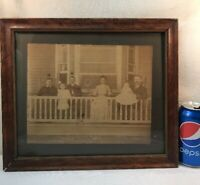 Vtg Wood Framed Glass LATE 1800's? Sepia Family Portrait Farm Porch Wood Back