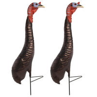 2pk Wild Evolution Fake Plastic Turkey Runt Decoys & Stakes Hunting Accessories