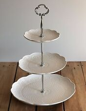 Embossed Pierced White 3 Tier Porcelain Cake Stand Serving Plate - PSL2202