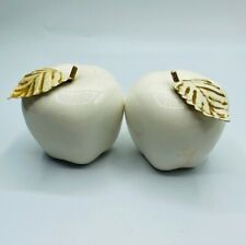 Pair of White Glass Apples with Metal Leaves Gold