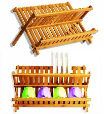 Folding Dish Drainer Bamboo Sink Rack Wooden Bowl Plate Cup Dryer Stand Holder