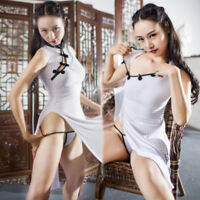 Dame White Striped Cheongsam Sheer Bodysuit Jumpsuit Club Long Dress Costumes