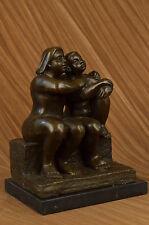 SIGNED FERNANDO BOTERO BRONZE STATUE SITTING WOMAN & LADY ABSTRACT MODERN ARTUG