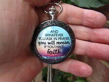 women big bible quote art necklace pendant pocket watch vintage heaven Christian