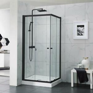 900 x 900 x 1900 mm Square Black Framed Shower Screen Cubical Sliding Doors