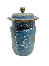 """Antique Round Brass Cloisonne Urn ~ Jar / With Lid - 11"""""""