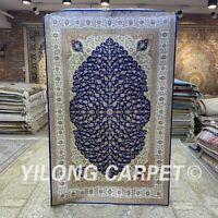 Yilong 4'x6' Blue Handwoven Silk Area Rug Leaf Design Oriental Carpet H284B
