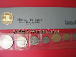 1965 FRANCE (7) COINS 1oz SILVER (2 SILVER COINS) FDC FRENCH SET + ORIGINAL BOX