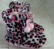 NWT Pink Cookie Girls Pink Leopard Bootie Slippers SIZE 11-12 SMALL / MEDIUM