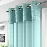 CRUSHED SILK AQUA GREEN BLUE BORDER CHROME EYELET AQUA VOILE NET CURTAIN PANEL