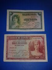 SPAIN LOTE 2 BILLETES 5 10 PESETAS REPUBLICA 1935 CIRCULADOS SIN SERIE