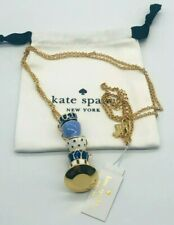 Kate Spade Tea Time 5 Teacups Set Blue Enamel Gold Pendant Necklace