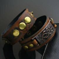 Punk Men Womens Wid Leather Belt Bracelet Cuff Wristband SH Bangle Accessor E8E2