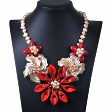 82mm Mother of pearl MOP shell red color turquoise flower fashion necklace 20""