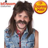 W873 Lone Wolf Adult Costume Hair Wig Mullet 1980s Retro Hillbilly Bogan Redneck