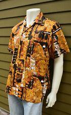New listing vtg 70's Evelyn Margolis mod abstract art Hawaiian Aloha shirt polyester L