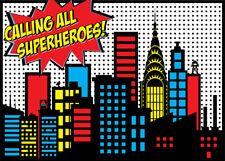 Superhero Cartoon City Vinyl Studio Backdrop Photo Background Photography 7X5FT