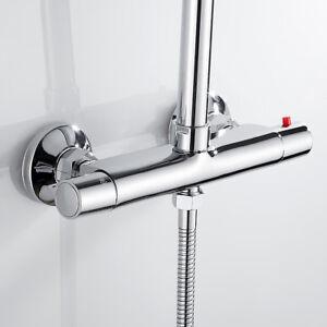 Bathroom Thermostatic Twin Outlet Shower Bath Tap Mixer Valve Bar Brass Bathroom