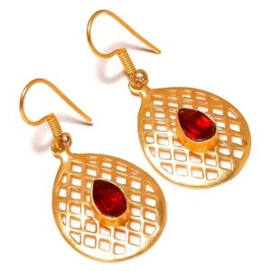 Mexican Red Apatite Pear Gemstone Gold Plated Handmade Filigree Drop Earrings