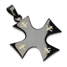 Celtic Cross Black Plated w/Tribal Inlay Pendant 316L Surgical Steel