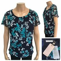JACQUES VERT Chiffon Top Size 18 UK Navy Blue Floral Pattern Floaty Top