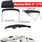 """4 Bow BIMINI TOP Boat Replacement Canvas Cover 67""""-103""""W 6ft Long No Frame Black"""