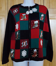 Ugly Christmas Sweater Victoria Jones Black Beads Pompom Balls Womens Size L